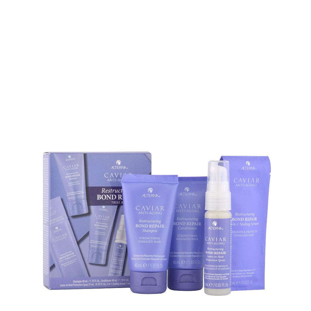 Alterna Caviar Restructuring Bond repair Trial kit Shampoo 40ml Conditioner 40ml Spray 25ml Serum 7ml