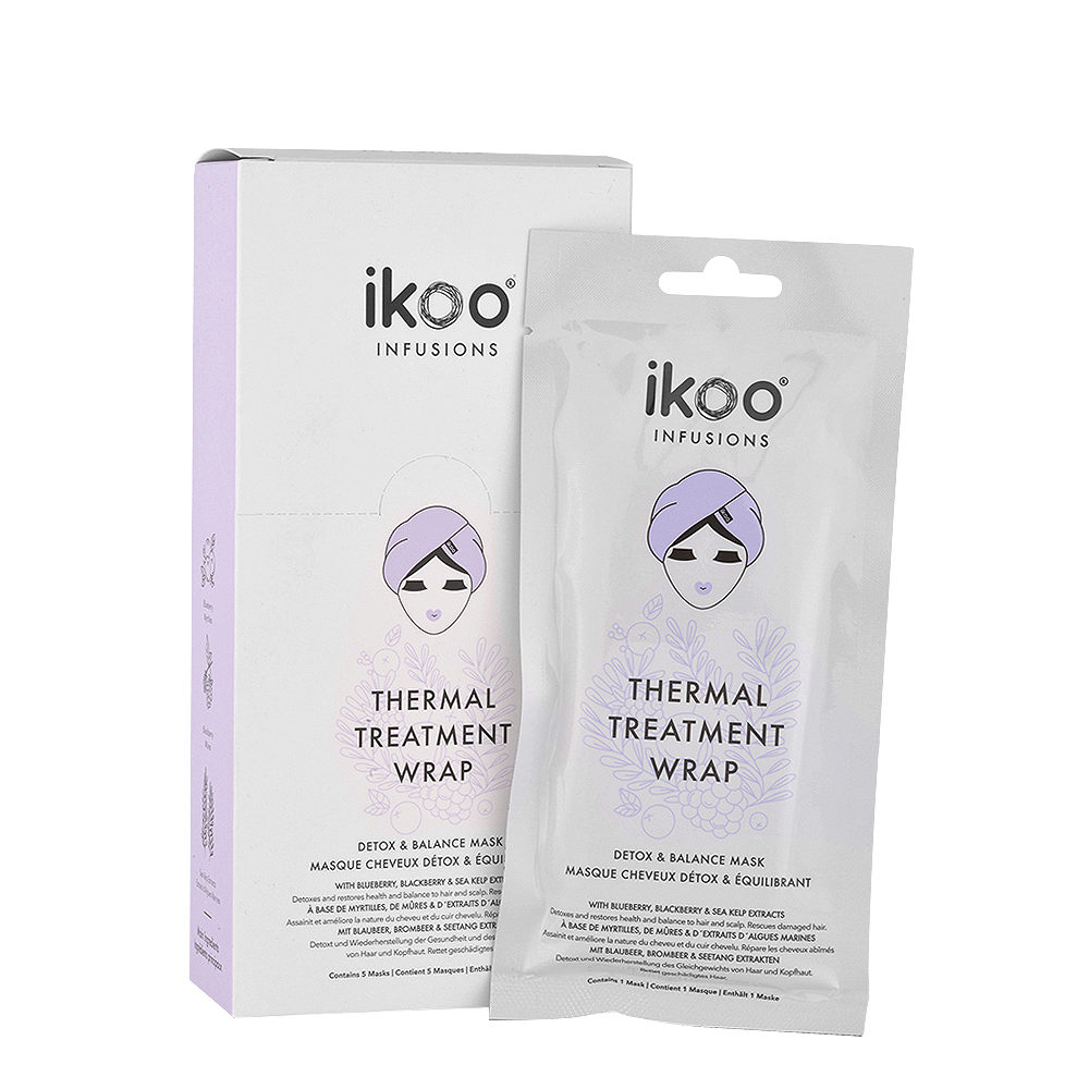 Ikoo Thermal treatment wrap Detox & balance mask 5x35g - Maschere in tessuto Purificanti
