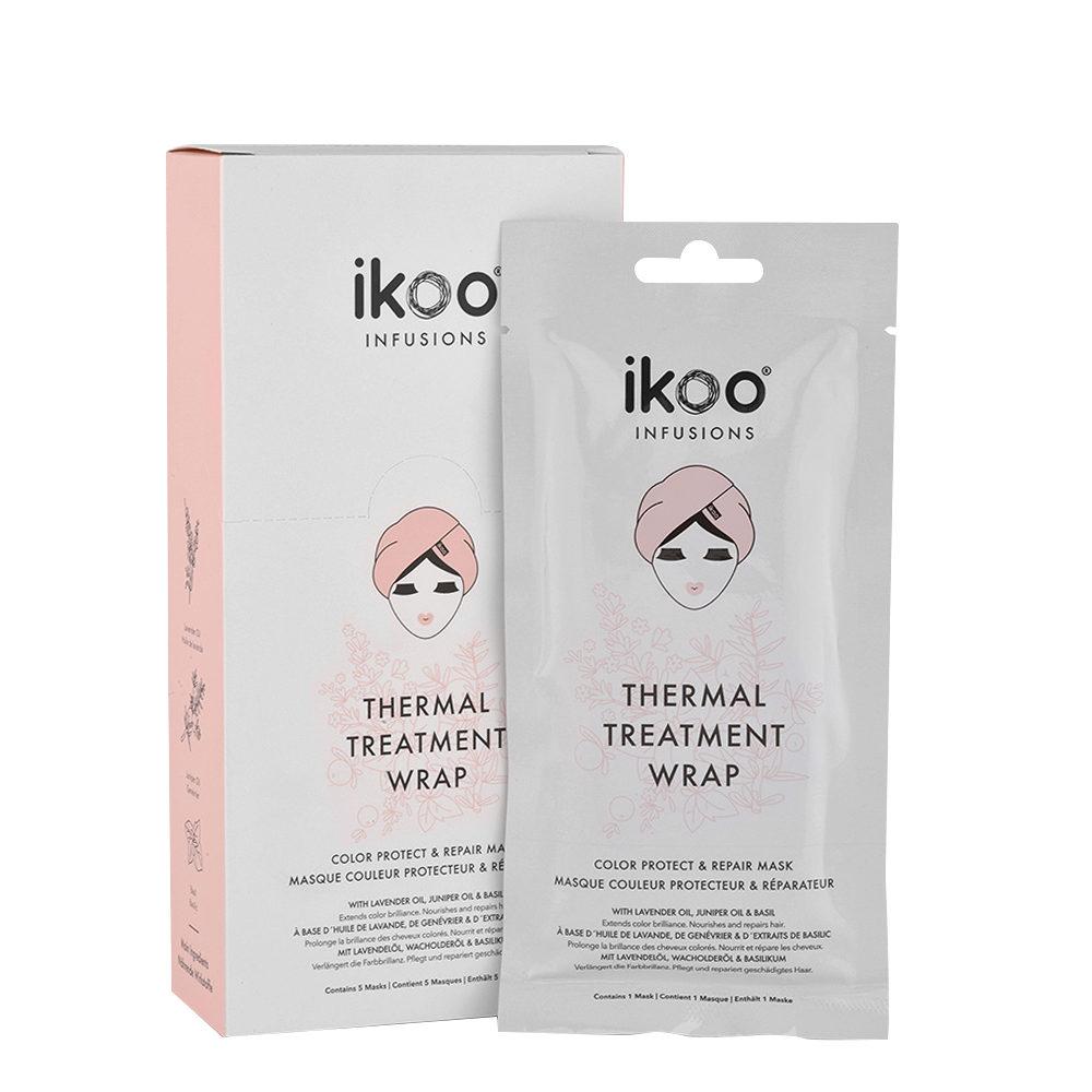 Ikoo Thermal treatment wrap Color protect & repair 5x35g - Maschere in tessuto Ristrutturanti
