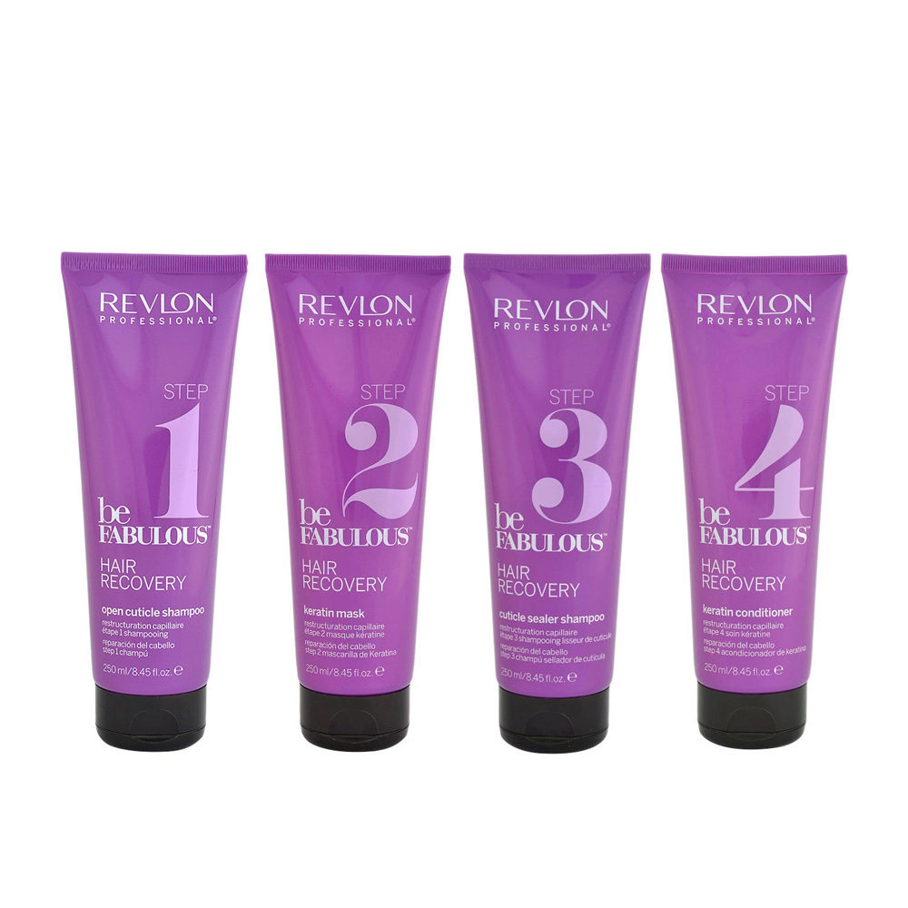 Revlon Be Fabulous Recovery Kit trattamento completo ricostruzione 4x250ml