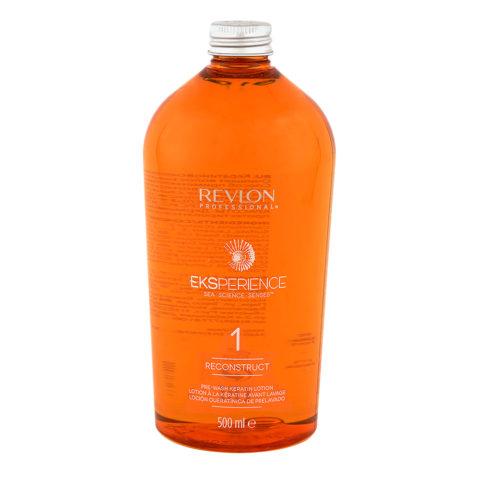 Eksperience Reconstruct Pre Wash Keratin Lotion Fase 1, 500ml - Pre shampoo lozione di cheratina