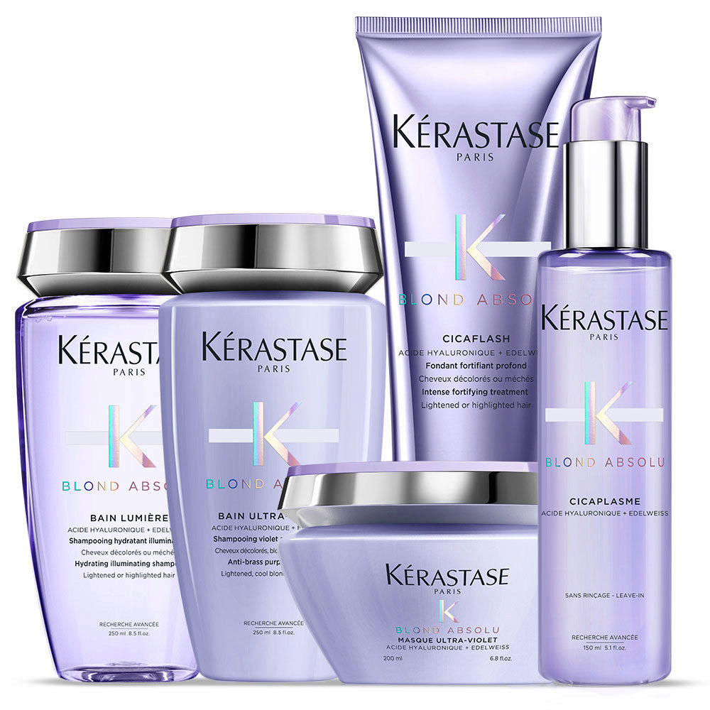 Kerastase Blond absolu Kit Bain lumiere 250ml Bain ultra violet 250ml  Cicaflash 250ml Masque 200ml Cicaplasme 150ml b0a646b987e5