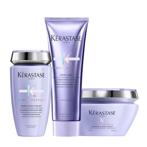 Kerastase Blond absolu Kit Bain ultra violet 250ml Cicaflash 250ml Masque 200ml pochette omaggio