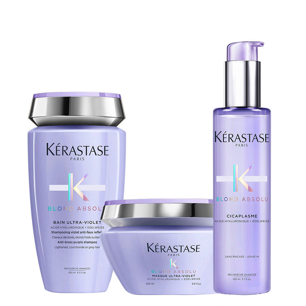 Kerastase Blond absolu Kit Shampoo antigiallo Maschera e Siero per capelli biondi freddi, platino, bianchi