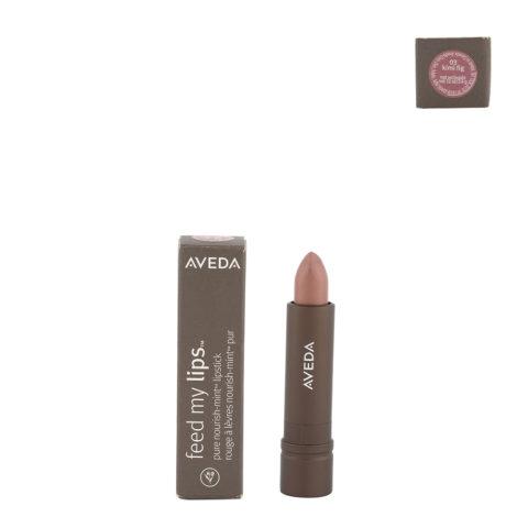 Aveda Feed my lips Pure Nourish Mint Lipstick 3.4gr Kimi Fig 03 - rossetto rosa caldo glitterato oro