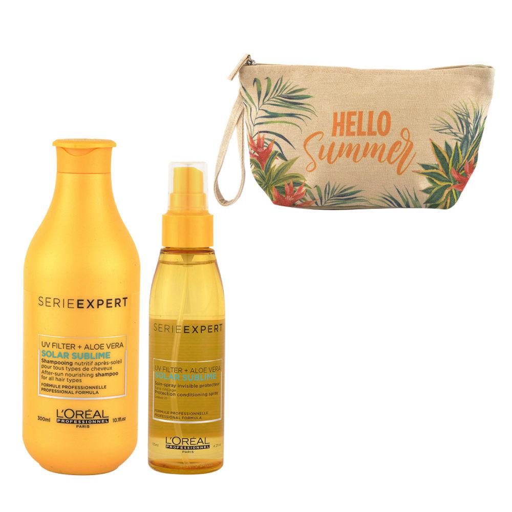 L'Oreal Solar Sublime Kit Shampoo 300ml Spray 125ml - omaggio pochette