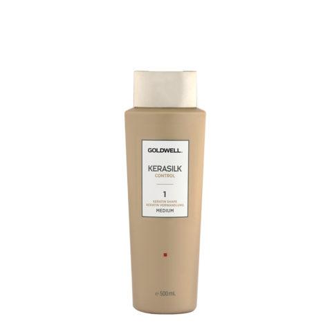 Goldwell Kerasilk Control 1 Keratin Shape Medium 500ml - trattamento lisciante per capelli mossi