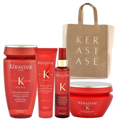 Kerastase Soleil Kit Shampoo 250ml Creme UV Sublime 150ml Huile Sirene 150ml Masque 200ml - borsa mare omaggio