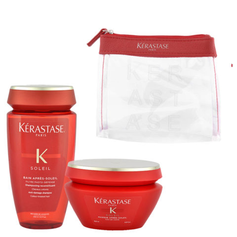 Kerastase Soleil Kit Shampoo Après Soleil 250ml Masque Après Soleil 200ml - pochette omaggio