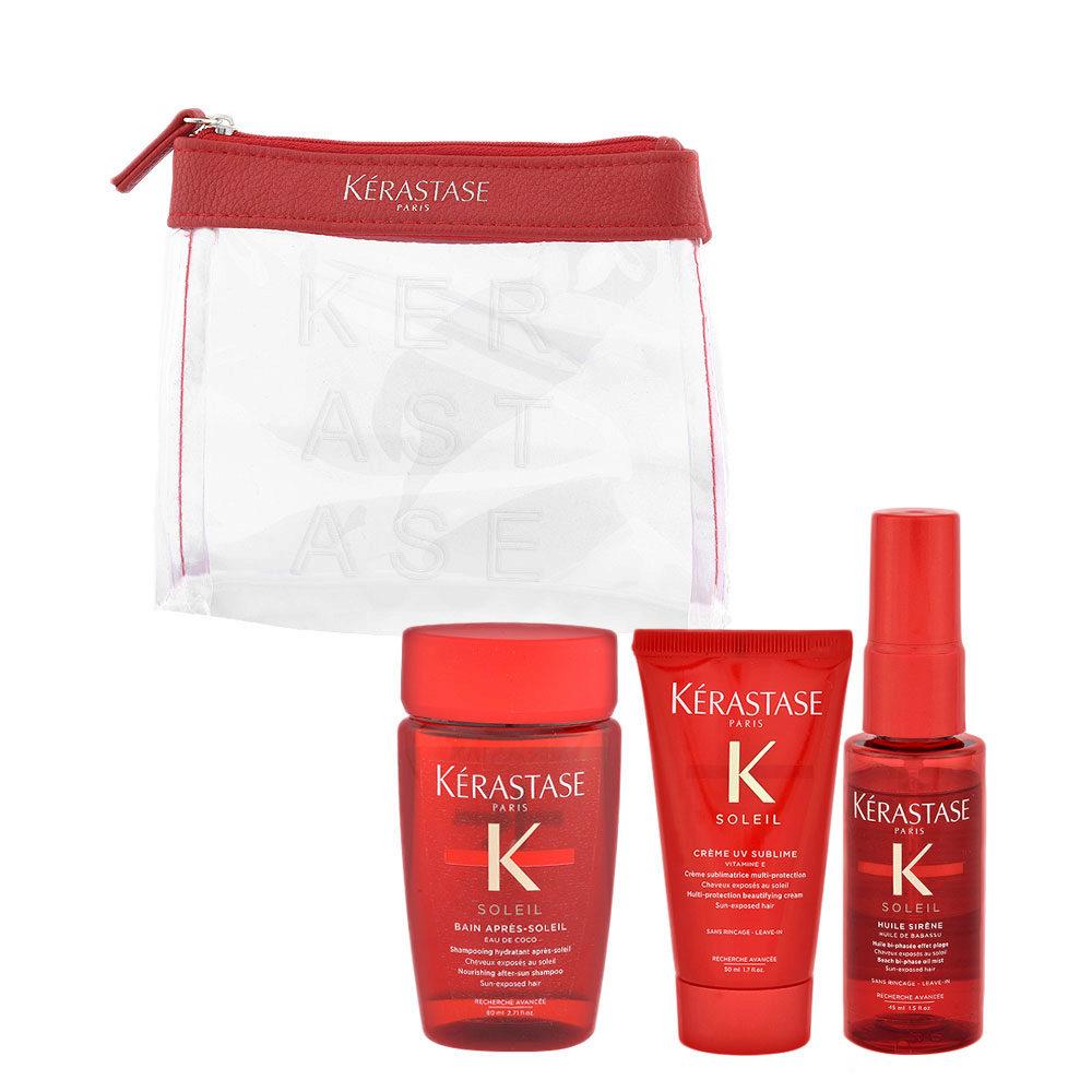 Kerastase Soleil Kit Shampoo 80ml Creme UV Sublime 50ml Huile Sirene 45ml - pochette omaggio