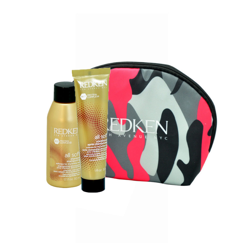 Redken Kit All soft Shampoo 50ml Conditioner 30ml omaggio pochette