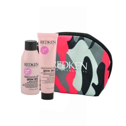 Redken Diamond Oil Glow Dry Gloss Shampoo 50ml Detangling Conditioner 30ml omaggio pochette
