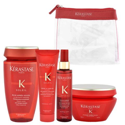 Kerastase Soleil Kit Shampoo 250ml Creme UV Sublime 150ml Huile Sirene 150ml Masque 200ml - pochette omaggio