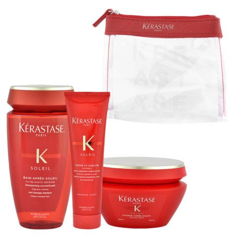 Kerastase Soleil Kit Shampoo 250ml Creme UV Sublime 150ml Masque 200ml - pochette omaggio