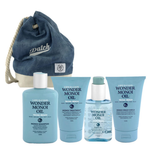 Tecna Beach Wonder Monoi kit Shampoo 250ml Treatment 150ml Oil 100ml Cream 200ml + zaino Datch