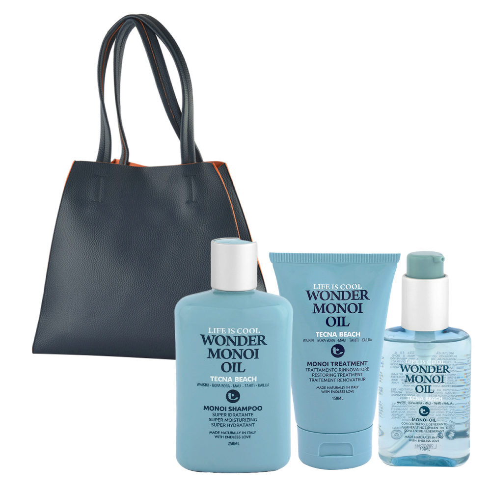 Tecna Beach Wonder Monoi kit Shampoo 250ml Treatment 150ml Oil 100ml omaggio borsa