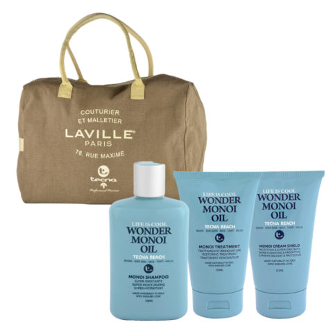 Tecna Beach Wonder Monoi kit Shampoo 250ml Treatment 150ml Cream 125ml omaggio borsa mare