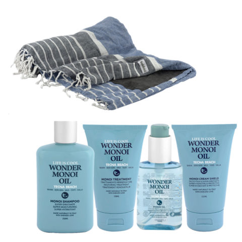 Tecna Beach Wonder Monoi kit Shampoo 250ml Treatment 150ml Oil 100ml Cream 200ml + telo mare Baldinini omaggio