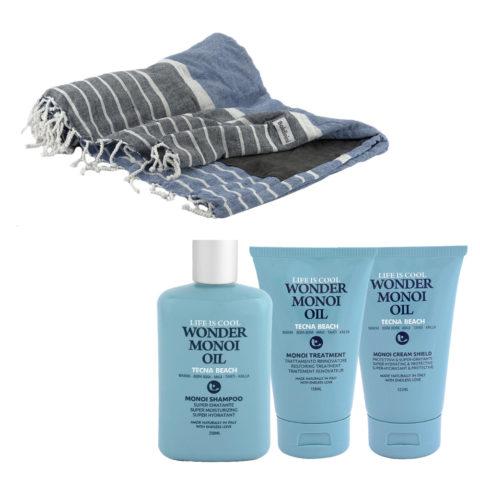 Tecna Beach Wonder Monoi kit Shampoo 250ml Treatment 150ml Cream 125ml + telo mare Baldinini omaggio