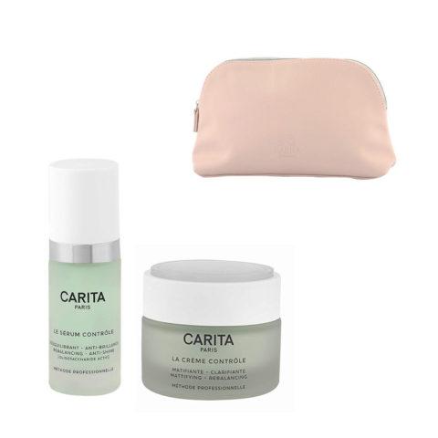 Carita Skincare Ideal Controle Kit Serum 30ml Creme 50ml - siero e crema viso opacizzanti - omaggio pochette