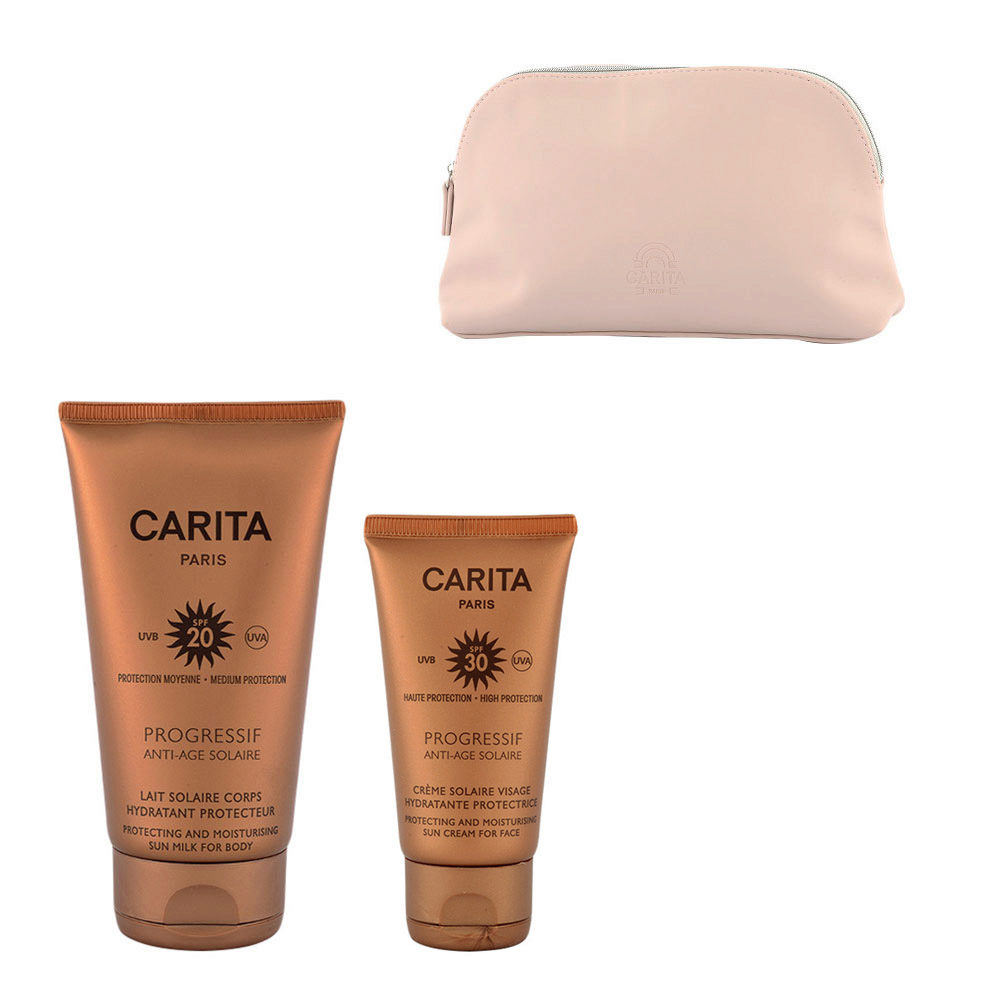 Carita Progressif Anti-Age Solaire Hydratant Protecteur Kit Crème Visage 50ml Lait Corps 150ml - omaggio pochette