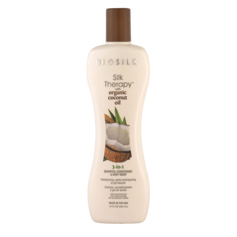 Biosilk Silk Therapy Coconut Oil 3 In 1 Shampoo, Conditioner, Body Wash 355ml - shampoo balsamo e bagnoschiuma