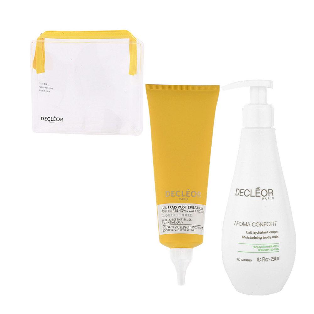 Decléor Bodycare Kit Post Hair Removal Cooling gel Clove 125ml Lait Hydratant 250ml - omaggio pochette