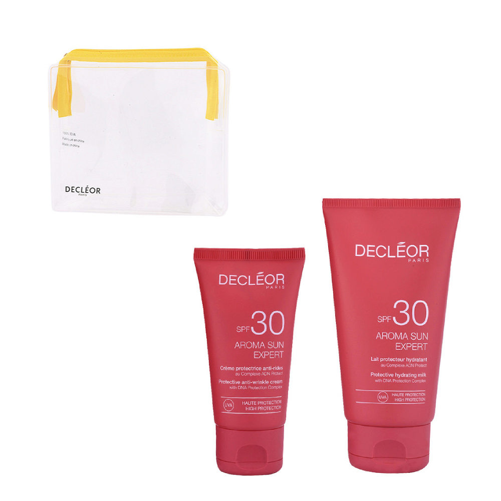 Decléor Aroma Sun Kit Protecteur Crème Anti-rides SPF30 50ml Lait Hydratant SPF30 150ml - omaggio pochette
