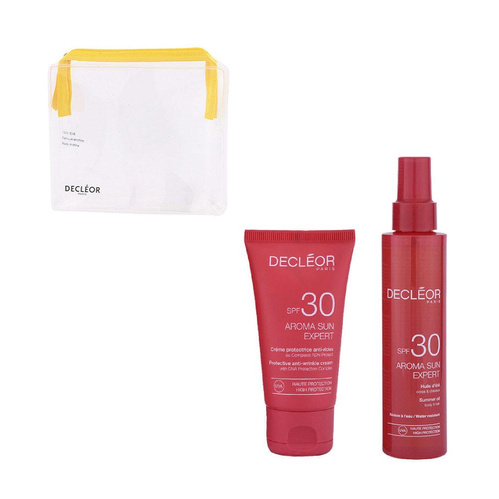 Decléor Aroma Sun Kit Protecteur Crème Anti-rides SPF30 50ml Huile d'été corps et cheveux SPF30 150ml - omaggio pochette