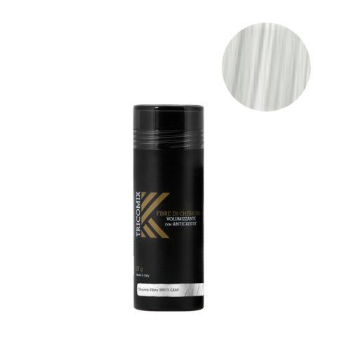 Tricomix Fibre White Gray 27gr - Fibre Di Cheratina Volumizzanti Per Capelli Con Anticaduta Grigio Chiaro / Bianco