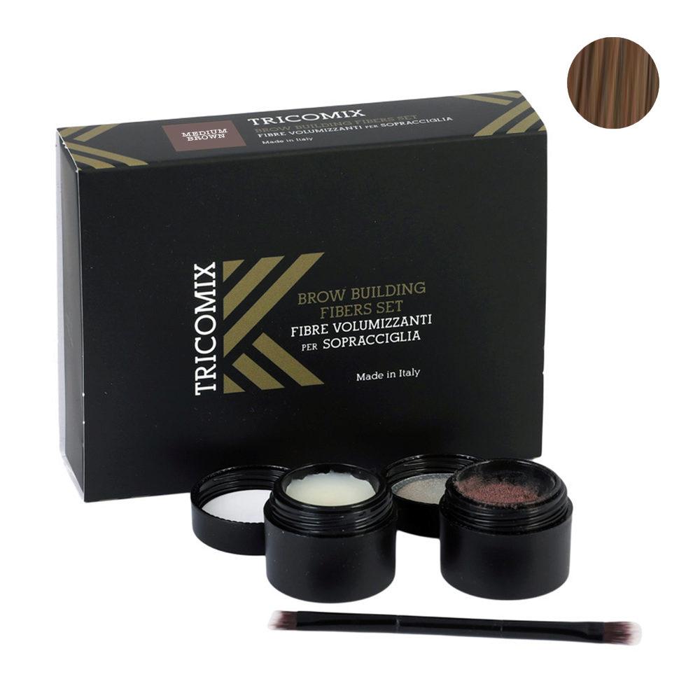 Tricomix Brow Medium Brown 1,2g + 2g - Fibre Di Cheratina Volumizzanti Per Sopracciglia Castano Medio