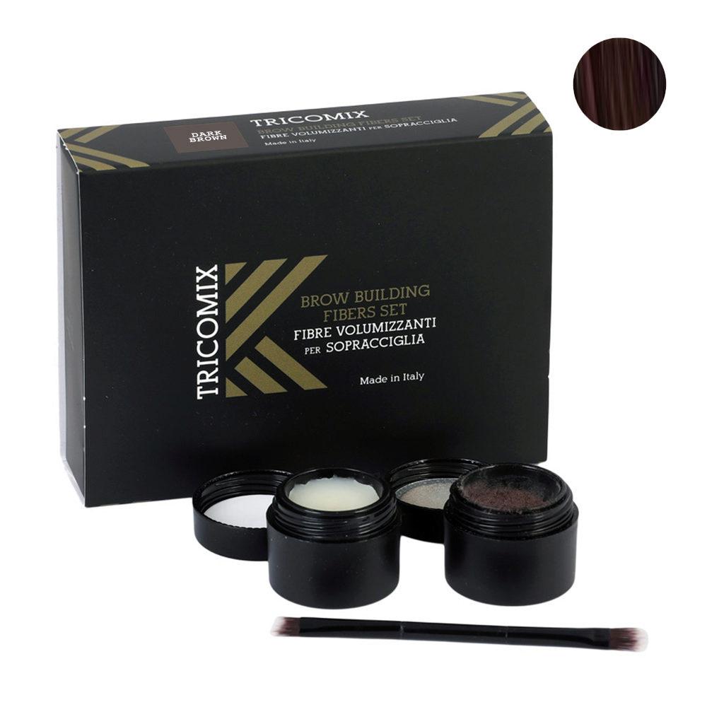 Tricomix Brow Dark Brown 1,2g + 2g - Fibre Di Cheratina Volumizzanti Per Sopracciglia Castano Scuro