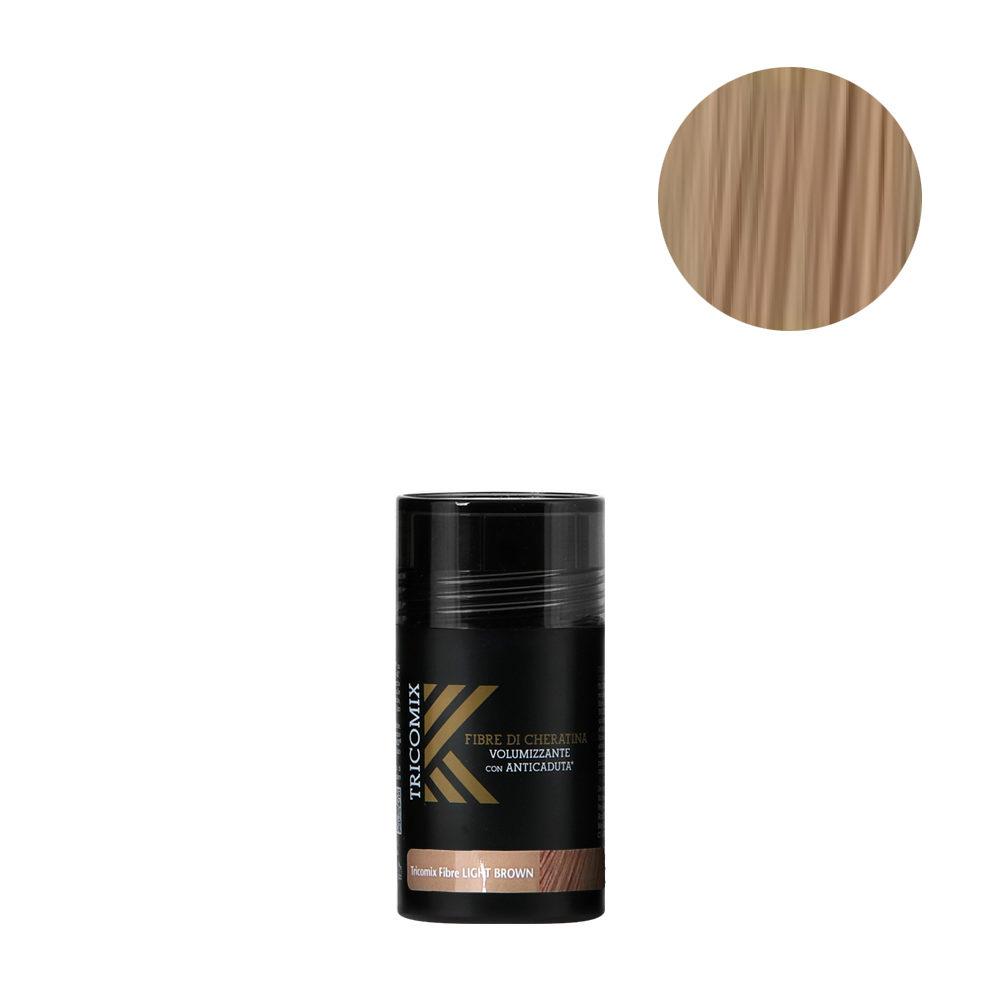 Tricomix Fibre Light Brown 12gr - Fibre Di Cheratina Volumizzanti Per Capelli Con Principi Anticaduta Castano Chiaro