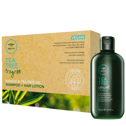 Paul Mitchell Tea Tree Program Shampoo 300ml + Hair Lotion 12x6ml - Trattamento Anticaduta Capelli con Forfora