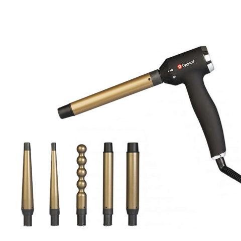 Upgrade Self Comby - Kit 5 Ferri Arricciacapelli A Pistola Intercambiabili In Titanio