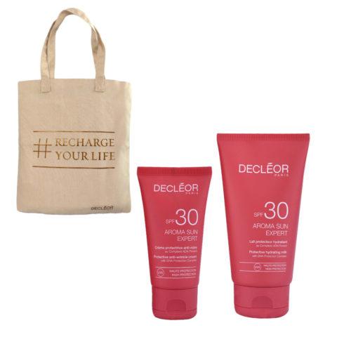 Decléor Aroma Sun Kit Protecteur Crème Anti-rides SPF30 50ml Lait Hydratant SPF30 150ml - omaggio borsa