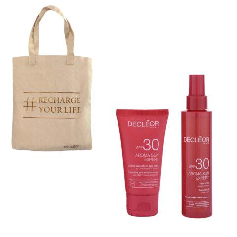 Decléor Aroma Sun Kit Protecteur Crème Anti-rides SPF30 50ml Huile d'été corps et cheveux SPF30 150ml - omaggio borsa