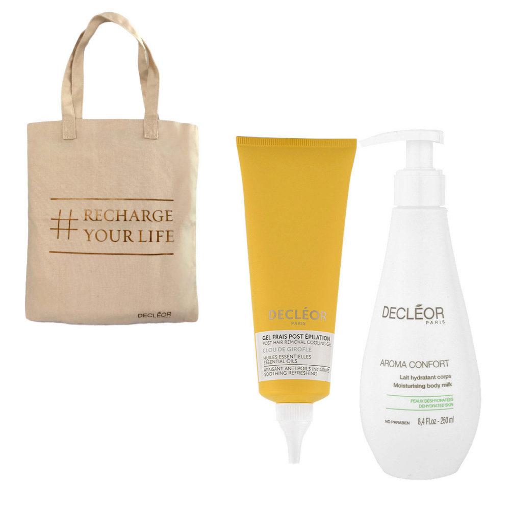 Decléor Bodycare Kit Post Hair Removal Cooling gel Clove 125ml Lait Hydratant 250ml - omaggio borsa
