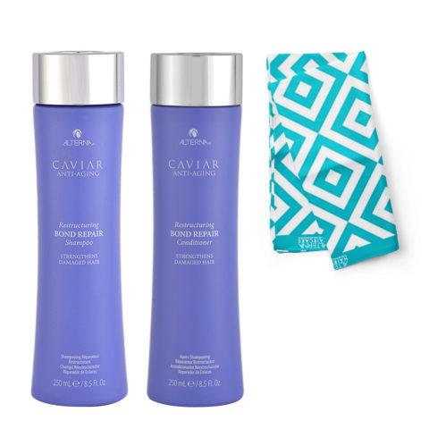 Alterna Caviar Restructuring Bond repair Kit Shampoo 250ml Balsamo 250ml - Pareo omaggio