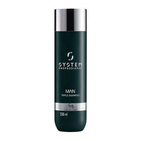 System Professional Man Triple Shampoo M1, 250ml - Shampoo Capelli Corpo e barba