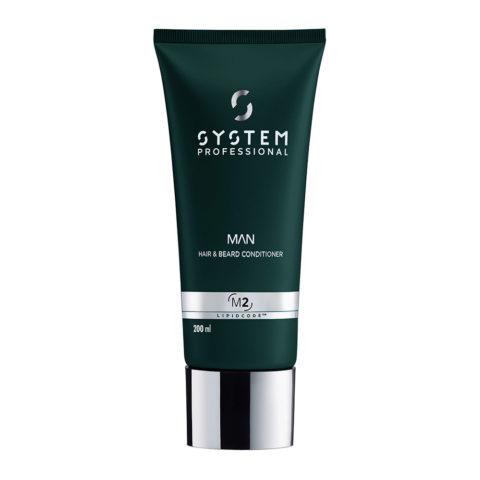 System Professional Man Hair & Beard Conditioner M2, 200ml - Balsamo Barba e Capelli