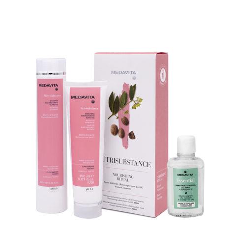 Medavita Rituale Nutrisubstance Shampoo 250ml Maschera 150ml (Per Idratare I Capelli Secchi) Gel mani igienizzante 100ml