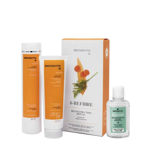 Medavita Rituale Beta-Refibre Shampoo 25ml Maschera 150ml (Per Ricostruire I Capelli) Gel mani igienizzante 100ml