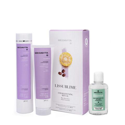Medavita Rituale Lissublime Shampoo 250ml Maschera 150ml (Capelli Crespi Azione Lisciante) Gel mani igienizzante 100ml