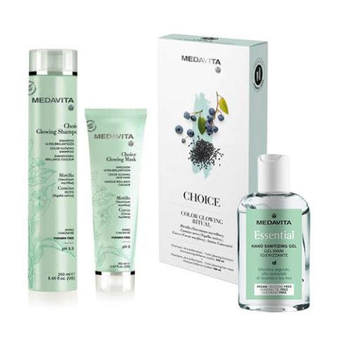 Medavita Rituale Choice Shampoo 250ml Maschera 150ml (Per Capelli Luminosi) Gel mani igienizzante 100ml
