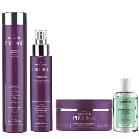 Medavita Prodige Revivifying Shampoo 250ml Deep Mask 250ml Hair Perfector 150ml Gel mani igienizzante 100ml