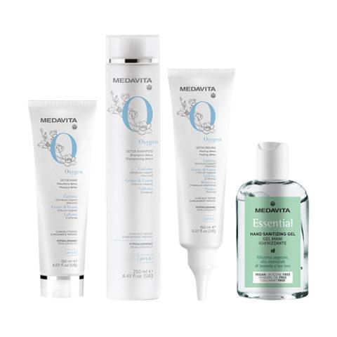Medavita Requilibre Oxygen Detox Shampoo revitalizzante 250ml peeling 150ml Maschera 150ml Gel mani igienizzante 100ml