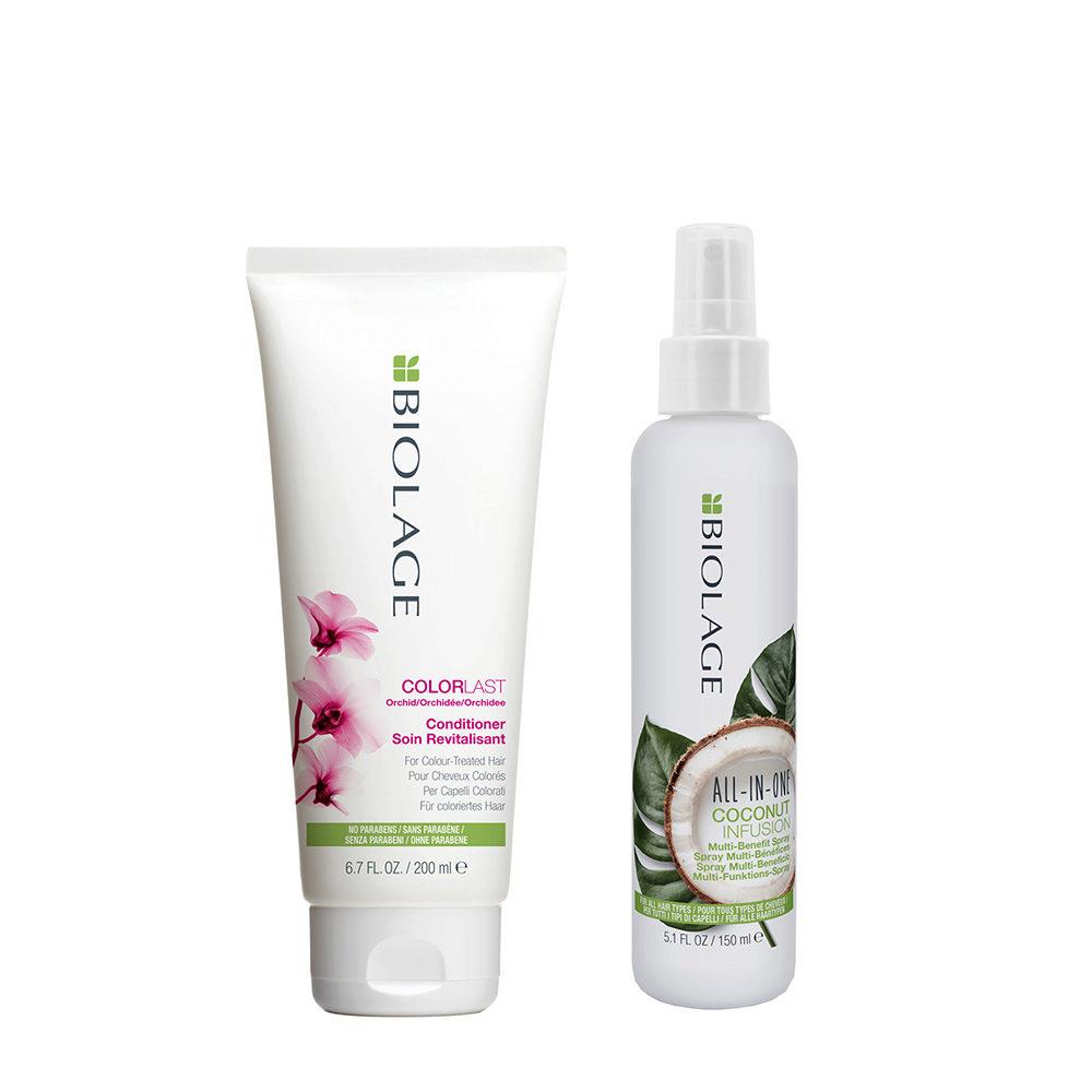 Biolage Colorlast Conditioner 200ml e All In One Coconut Spray 150ml - Balsamo e Spray Idratante