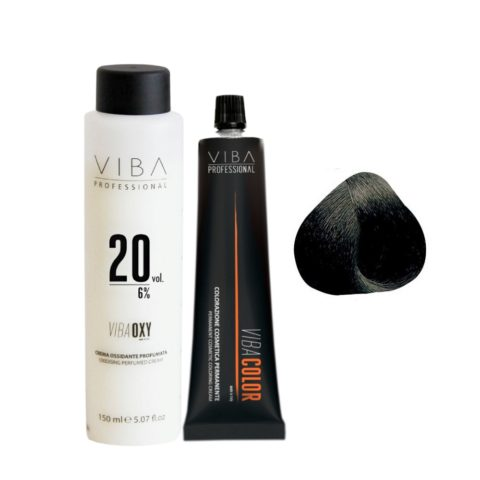 Viba Professional Kit Colore 1 Nero e Ossigeno 20 vol