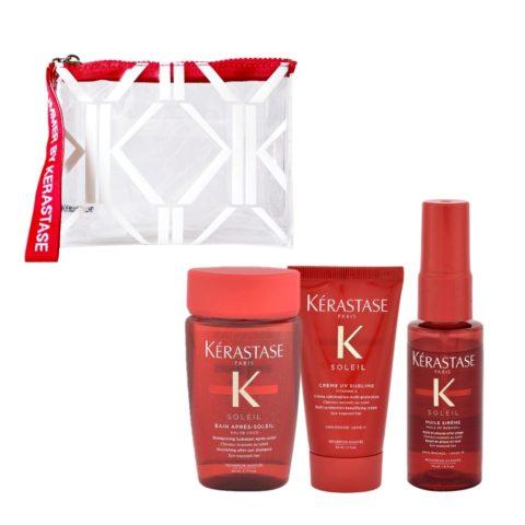 Kerastase Soleil Kit Solari per capelli Shampoo 80ml Crema protettiva 50ml e Spray onde 45ml con Pochette in omaggio
